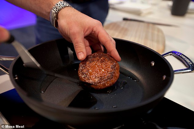 The cooked Mosa Meat patty looks similar to conventionally-made beef burgers. The company says it tastes 'like meat'