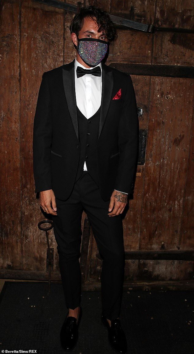Safety first: Bobby Norris rocked a sequin face mask as he arrived at the event after recently announcing his split from his partner of one-year Matt Snape
