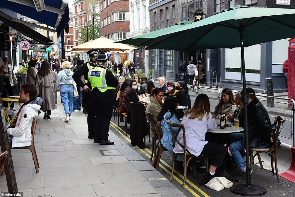 Metropolitan police officers are already out monitoring the behaviour of revellers enjoying an evening out in Soho