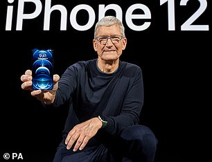 Tim Cook is modeling the new iPhone 12 Pro Max, which is almost twice as large at 6.7 inches