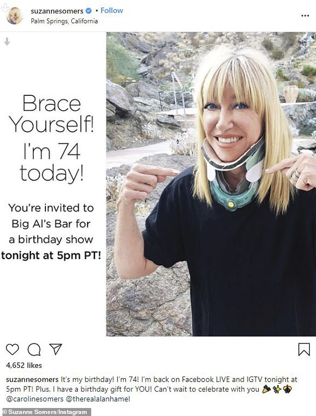Ouch:Suzanne Somers posted an alarming photo to Instagram on Friday afternoon. The blonde beauty was seen in a medical neck brace that went from her chest to her chin. It was only 10 days ago that she revealed she had fallen down a flight of stairs forcing her to have surgery