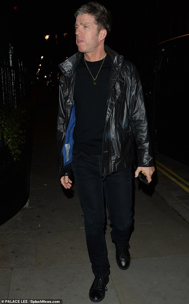 Rulebreaker: He has refused to wear a face mask and Noel Gallagher flouted the current guidelines as he went mask-free for drinks at Chiltern Firehouse in London on Friday
