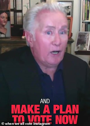 Political bunch: The cast of The West Wing including Martin Sheen and Allison Janney posted a PSA for When We All Vote, urging viewers to make a plan to vote early, now