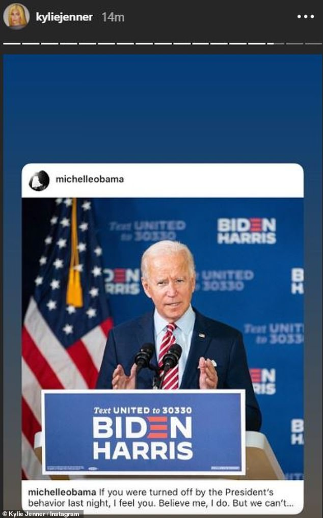 Charged moment: The post Kylie shared was written the day after the first presidential debate between President Donald Trump and Biden, at which Trump's performance was widely derided