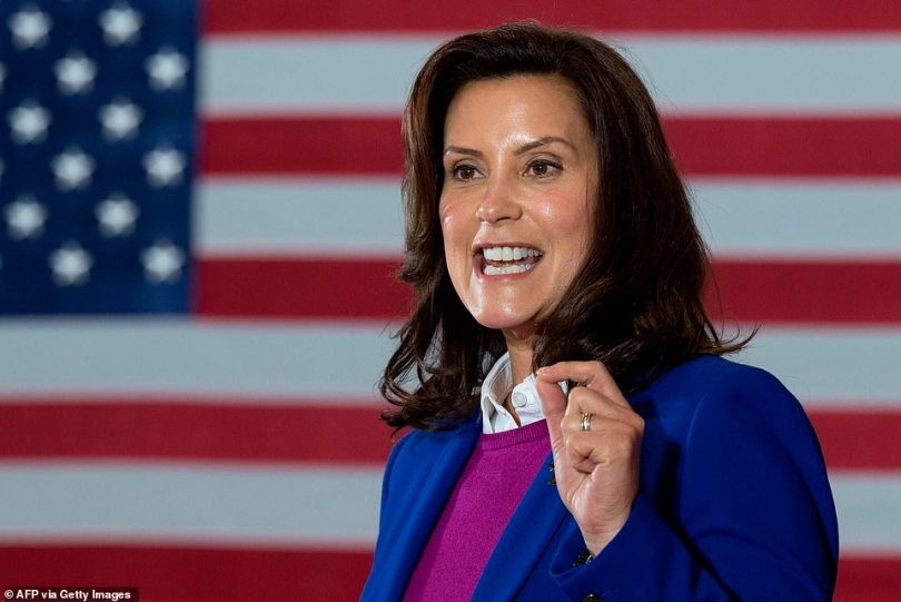 Michigan Governor Gretchen Whitmer introduces Democratic Presidential Candidate Joe Biden to speak at Beech Woods Recreation Center in Southfield, Michigan, on October 16, 2020