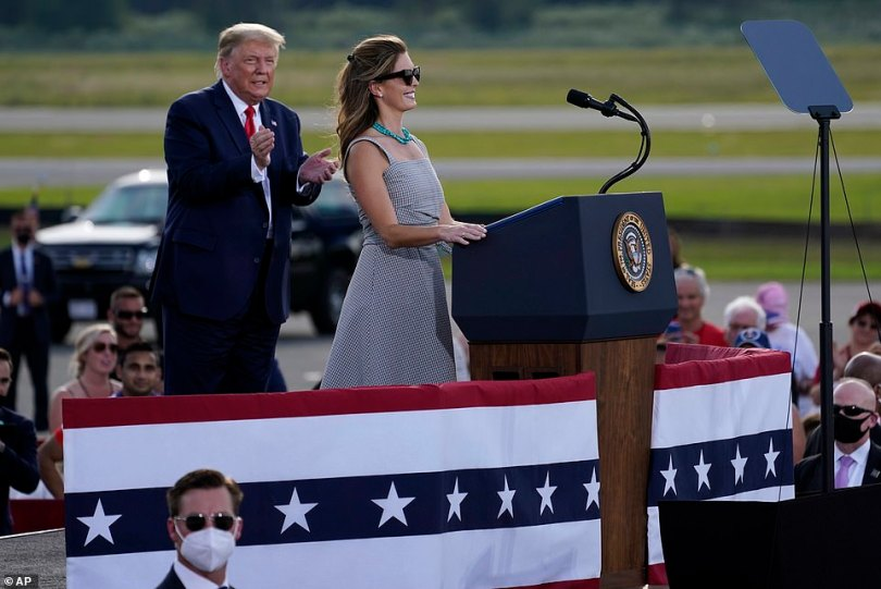 'We can share a microphone now!' she quipped. Both Hicks and Trump have battled the coronavirus