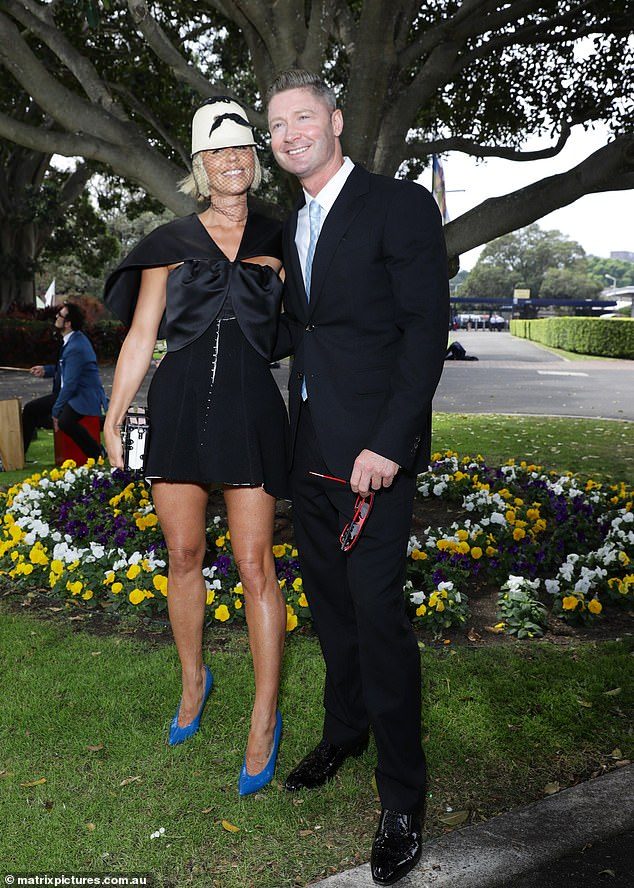 Beaming: Alongside Pip at the event was her beau Michael Clarke, who looked proud as punch to be at the event with his girlfriend