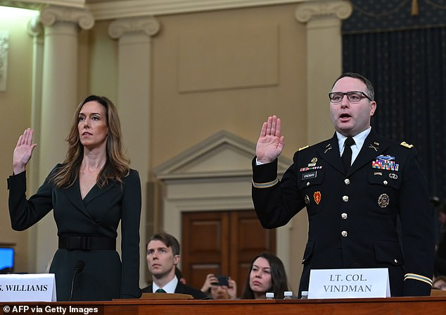 National Security Council Ukraine expert Lieutenant Colonel Alexander Vindman as he testifiedduring the House Intelligence Committee hearing into President Donald Trump's alleged efforts to tie US aid for Ukraine to investigations of his political opponents