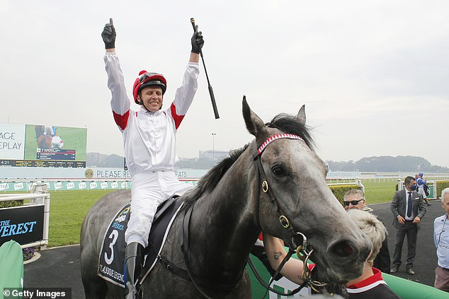 It's the third Everest victory for the world-class jockey Kerrin McEvoy (pictured after the race with Classique Legend)