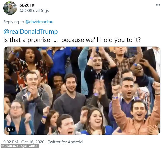 Several other social media users were quick to comment on Trump's joke, with some critics bidding him farewell