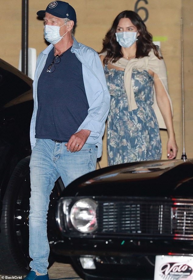 Mother to be:Katharine McPhee, 36, draped her bump in a flowing dress while out with her husband David Foster, 70, and mother Peisha McPhee in Los Angeles this Friday