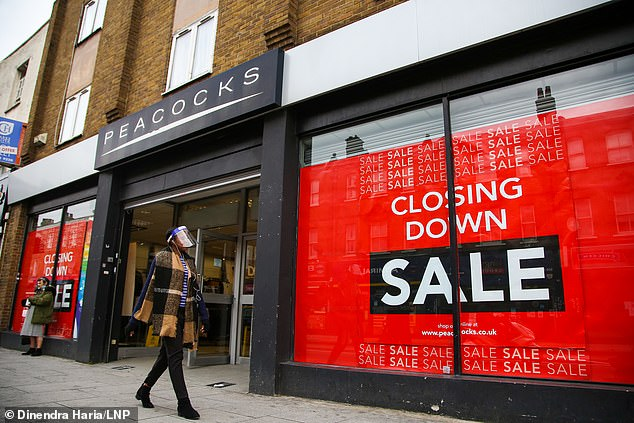Jaeger and Peacocks (pictured in London) owner Edinburgh Woollen Mill has announced it will close 50 stores in the latest blow to the high street during the coronavirus pandemic