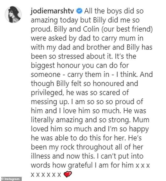 Proud: Jodie also congratulated her boyfriend Billy Collins Nuttal who helped carry her mother's casket alongside her close friend Colin, her father and her brother