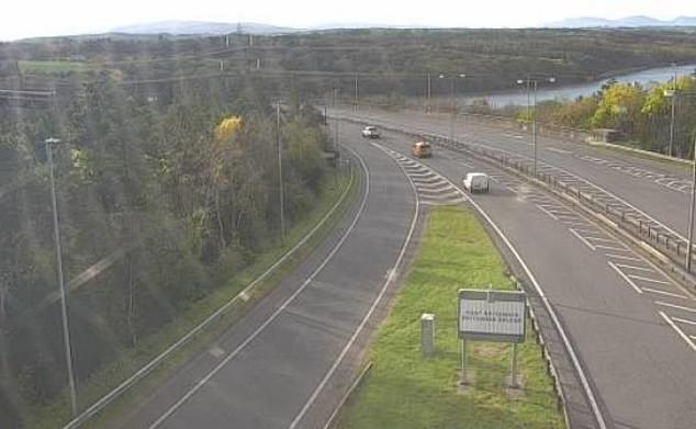 Traffic is still flowing freely across the border from England to Wales on the first day of the supposed travel ban from a high-Covid area (A55 pictured)