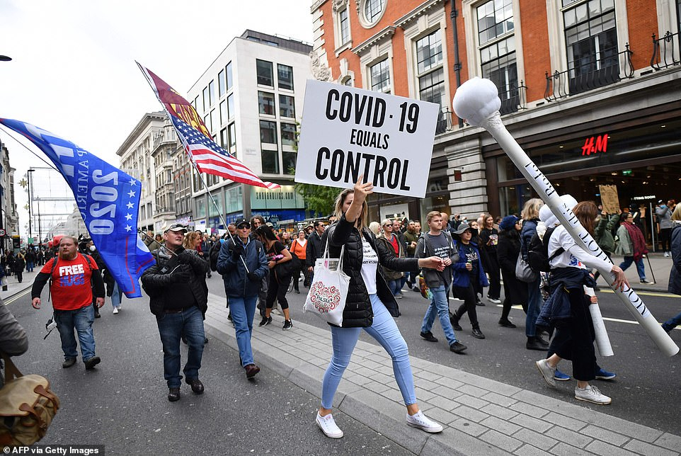 The protestersgathered in Oxford Street earlier today before marching through the capital after London was moved into Tier 2 level of lockdown