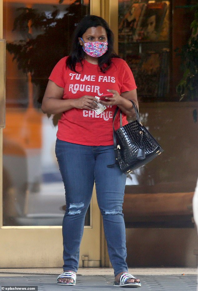 First sighting: Mindy Kaling, 41, was seen exiting the Sunset Towers hotel on Friday afternoon, making it her first public sighting since giving birth on September 3