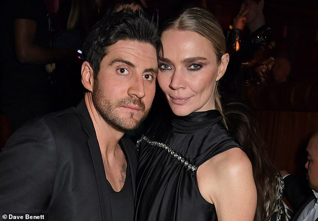 Support: Jodie Kidd pictured with her partner Joseph Bates attending the LOVE magazine LFW Party, celebrating issue 23 at The Standard in London in February this year