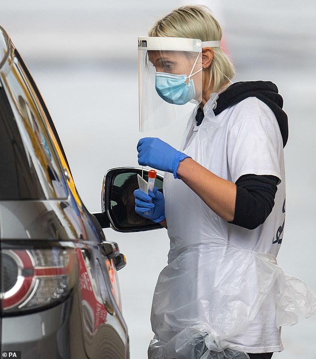 If the theory holds true, it could mean the current tactic employed by NHS Test and Trace is at best a waste of resources (pictured: staff collect samples at a test centre in Leicester)
