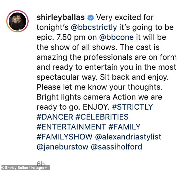 Sharing a behind-the-scenes snap on Instagram, she penned: 'Very excited for tonight¿s @bbcstrictly it¿s going to be epic. 7.50 pm on @bbcone it will be the show of all shows'