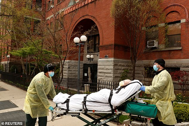 The Cobble Hill Health Center is reported to have been the hardest hit nursing home during the COVID-19 pandemic. At least 55 patients from the facility died of the virus, according to records. A patient is wheeled out of the Cobble Hill nursing home during the COVID-19 outbreak in April