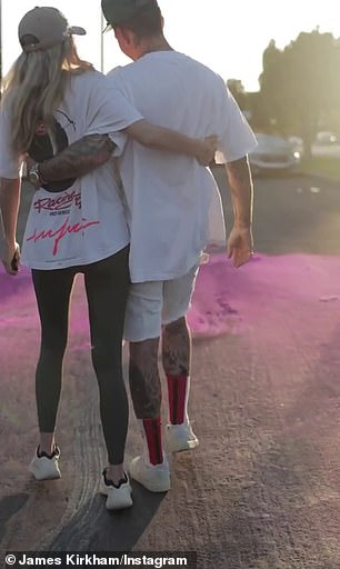 Unique: Jessica posted footage of James performing a burnout in the street as pink smoke fumed out the back of the car