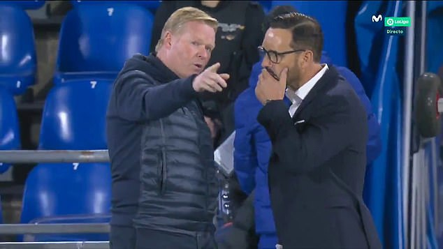 The Dutchman (left) was seen approaching Jose Bordalas (right) to tell him what Nyom said