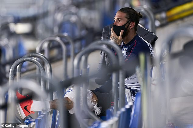 The Los Blancos captain appeared in stands for the second half with ice strapped to his knee