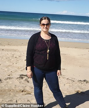 BEFORE: Just two and a half years later, Claire has lost 35 kilograms, and she said she has never had more energy (pictured before)