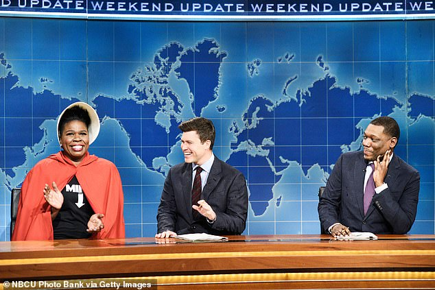 So long: after five seasons, Jones decided to leave Saturday Night Live before the start of his 45th season on NBC; Leslie Jones, Colin Jost and Michael Che on SNL in 2019