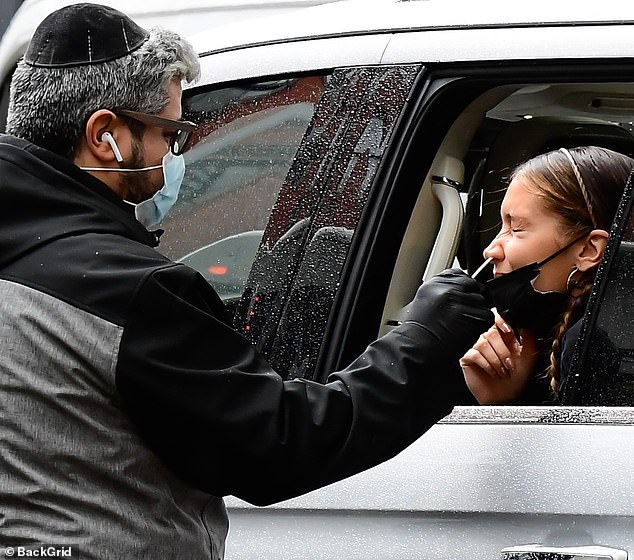 Ouch: She was spotted earlier that day to make sure she didn't have COVID-19. She leaned out of her car window to have the test done nasally