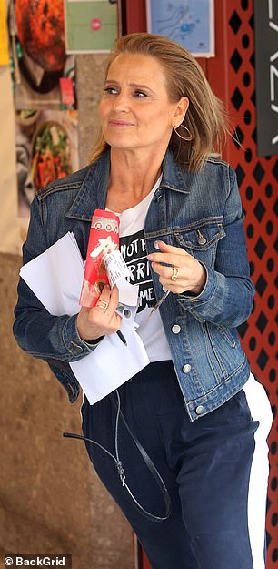 Out and about: Shaynna Blaze looked in great spirits as she picked up some supplies from the supermarket