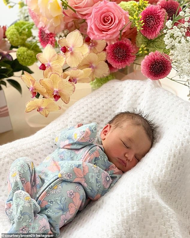 She's here! Courtney Brown and Hans Baumgartner have welcomed their first child, a daughter named Ava (pictured).The former Block contestants, who starred on the show in 2018, took to Instagram on Saturday to share the exciting news