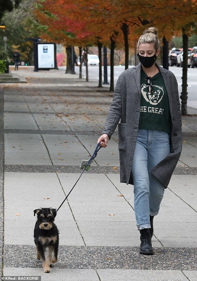 Chilly: The actress bundled up in a plaid overcoatover a black t-shirt and faded blue jeans