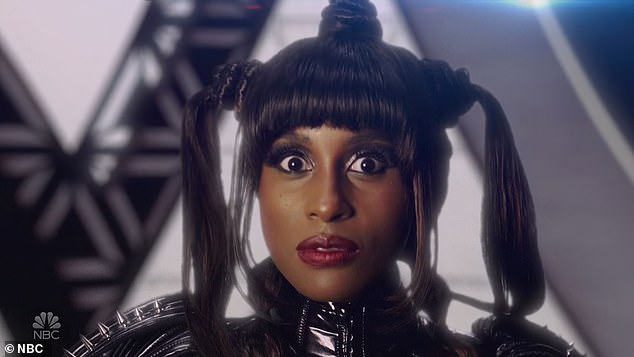 Funnywoman:The sketch show was hosted by HBO Insecure star Issa Rae, who had fun in various skits including one over-the-top dance off inspired by TLC