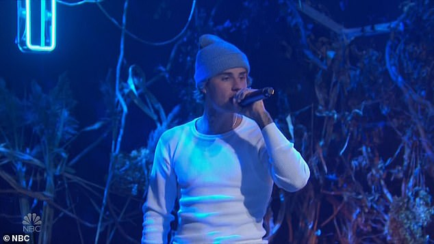 Soon after: For his first performance, Justin delivered a bare-bones rendition of his track Holy