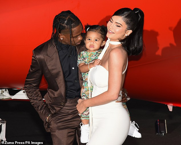 Their girl: Kylie and Travis were first linked in 2017, follower her split from another rapper, Tyga. They welcomed their first child, Stormi, now two-years-old, in February 2018. Seen here in 2019