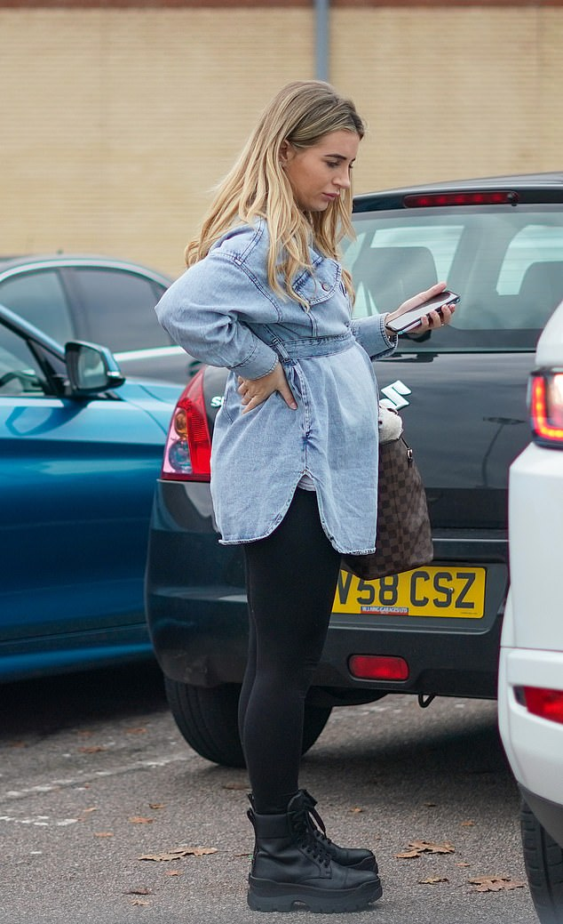 Blossoming: Dani Dyer showcased her growing baby bump on Saturday as she was seen out shopping with fellow Love Island star Georgia Steele
