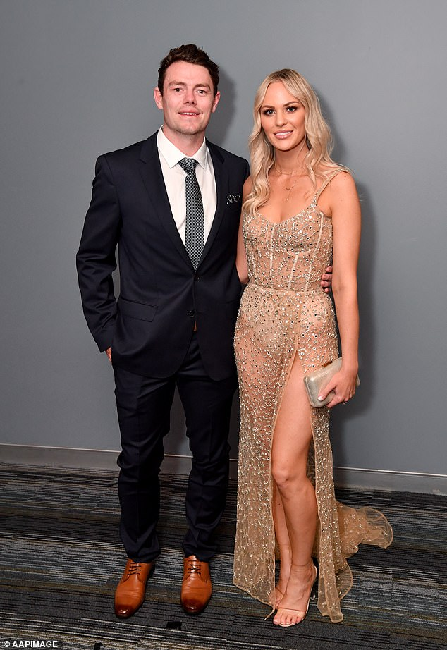 Brisbane Lions midfielder Lachie Neale (pictured with wife Julie) has won the 2020 Brownlow Medal