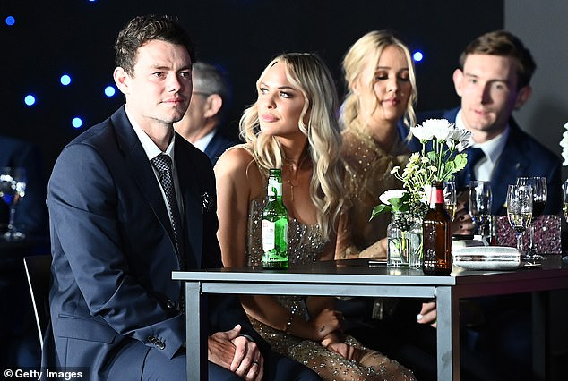 Neale looks downcast as he watches on during the Brownlow Award ceremony on Sunday