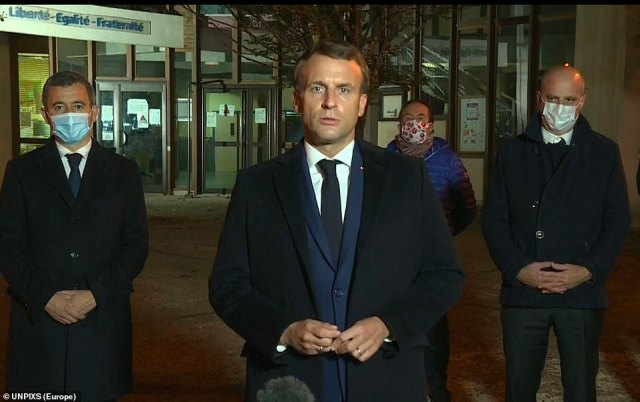 French President Emmanuel Macron denounced what he called an 'Islamist terrorist attack', claiming: 'One of our compatriots was murdered today because he taught the freedom to believe or not believe. He said the attack should not divide France because that is what the extremists want. We must stand all together as citizens'
