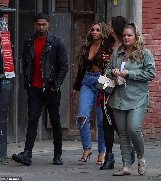 Out and about:Jesy Nelson, 29, enjoyed a night out with her boyfriend Sean Sagar, 30, and a group of friends in London on Saturday
