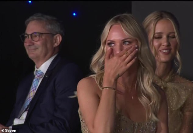 Julie Neale was left in tears during Lachie's acceptance speech, calling his wife the most selfless person he knows