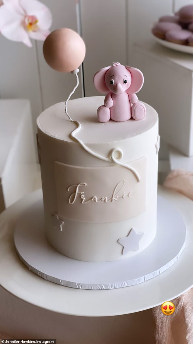Hip-hooray! Other images included Frankie's adorable birthday cake, decked out with a balloon, elephant and stars