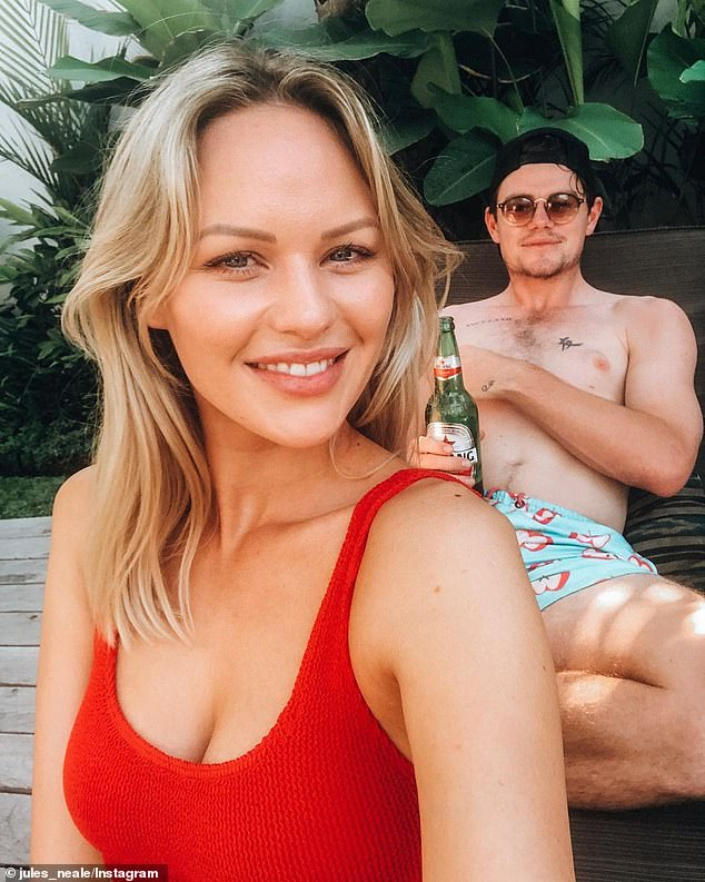 Happy together: The couple frequently pose together in loved-up images on Instagram, appearing to share a blissful lifestyle at their Brisbane home. Julie captioned one recent relaxed photo of the pair: 'Hit the husband jackpot. You are incredible'