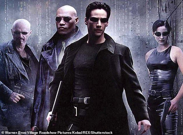 A long time ago when: (LR) Joe Pantoliano, Laurence Fishburne, Keanu Reeves and Carrie-Anne Moss are featured in the poster for the original 1999 Matrix