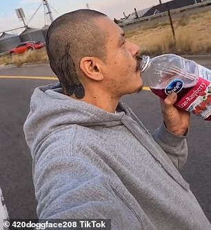Thirsty work: Apodaca (pictured) - who uses the 420doggface208 handle - went viral last month when he started the trend