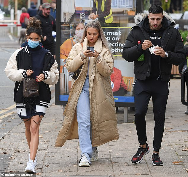 Pals: Molly-Mae Hague, 21, and Tommy Fury, 21, enjoyed a day out with their close pal Maura Higgins in Cheshire on Sunday