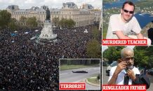 Thousands rally in Paris in protest at murder of teacher Samuel Paty by refugee Islamist terrorist who filmed moment he beheaded him for showing pupils cartoons of Prophet Mohammed and then posted grisly clip online