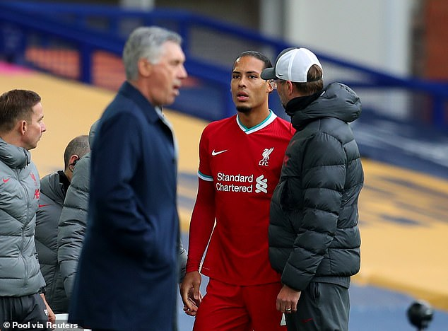 The German boss (right) claimed Liverpool suffered against Everton after van Dijk's injury