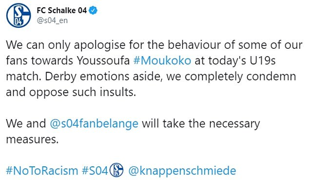 Schalke apologised on Sunday following the abuse after striker Moukoko scored a hat-trick